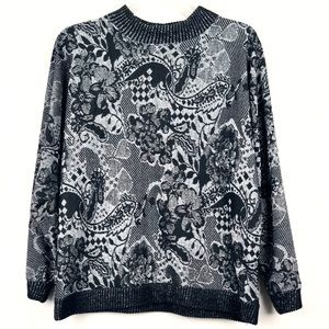 Vintage Chunky Black and Silver Crew Neck Sweater
